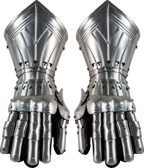 Gauntlets inspired by Gothic armour popular during the late 15th century. Fully articulated and constructed from polished steel.