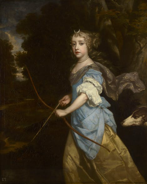 A full length portrait of a young Queen Mary II, when she was a princess, depicted in a flowing gown as the mythological goddess of hunting, Diana. She carries a bow and wears a crescent moon on her head.
