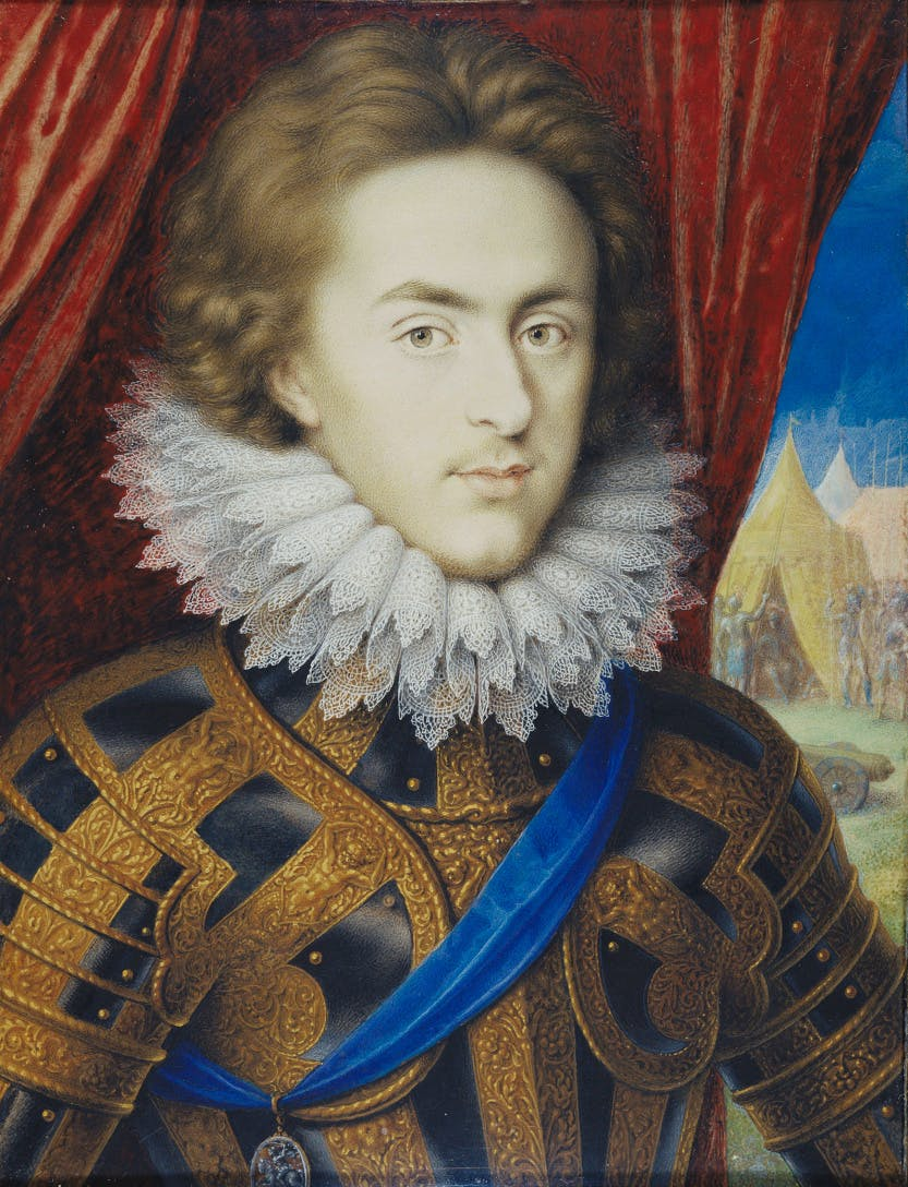 Prince Henry, James I's son, in royal armour with a view of tents in the background behind a red curtain.