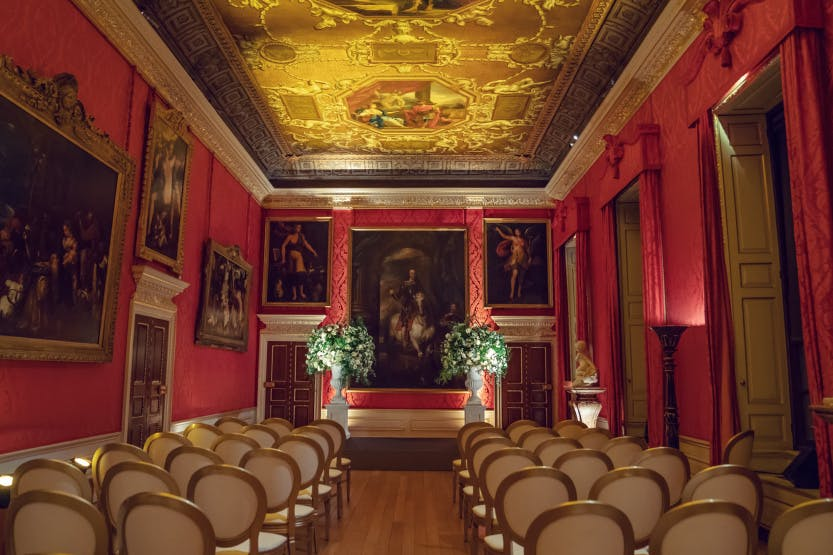 View of chairs set up for wedding ceremony in King's Gallery