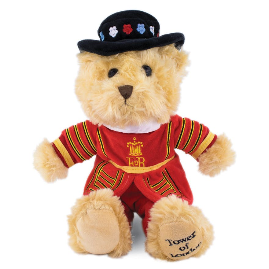 Beefeater teddy bear This 'Beefeater' bear is splendidly dressed in a Yeoman Warder uniform, standing ready to guard the Tower of London.