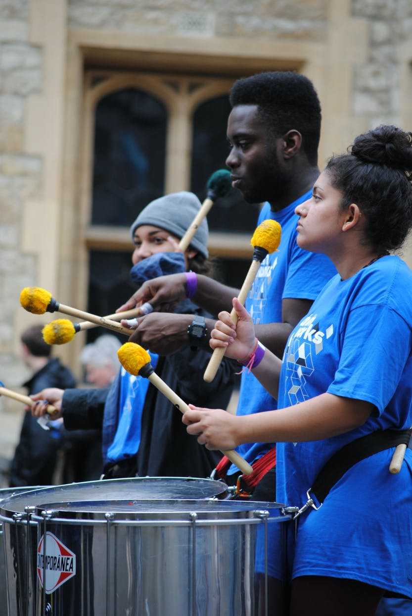 Students participating in the Music at the Tower festival at the Tower of London