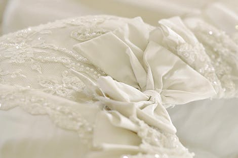 Detail of the wedding dress bodice of Diana, Princess of Wales