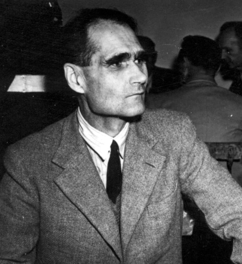 Black and white photograph of Rudolf Hess, deputy to Adolf Hitler.