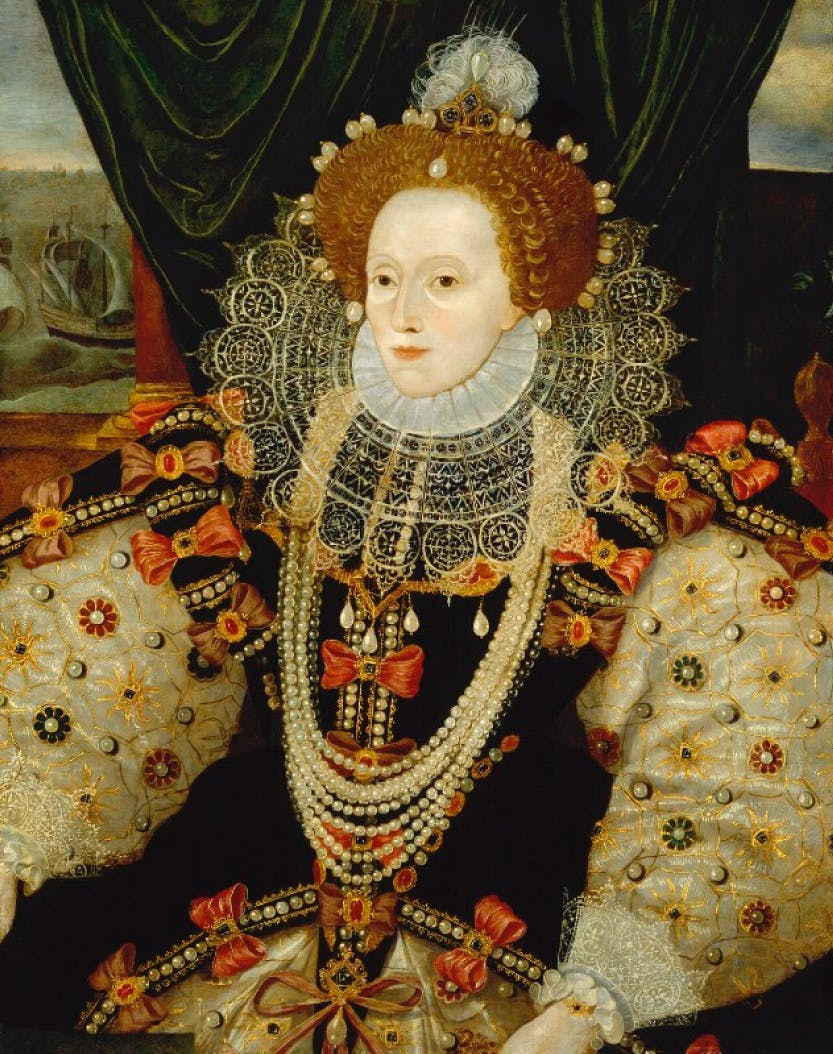Portrait of Elizabeth I to commemorate the defeat of the Spanish Armada.