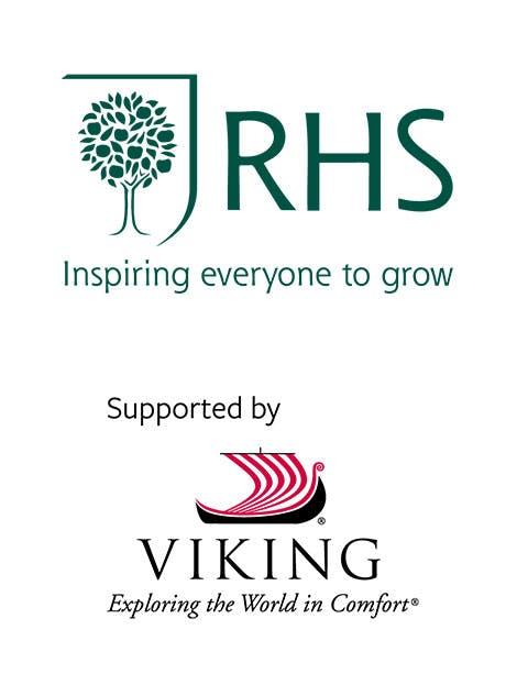 RHS and Viking logos on a white background