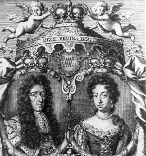 Engraving of King William III and Queen Mary II  The King wears robes of state; the Queen a jewelled gown with pearls. Above them are putti supporting a crown and below is the royal coat of arms.
