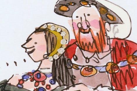 Illustration of Anne Boleyn and Henry VIII by Tim Archbold