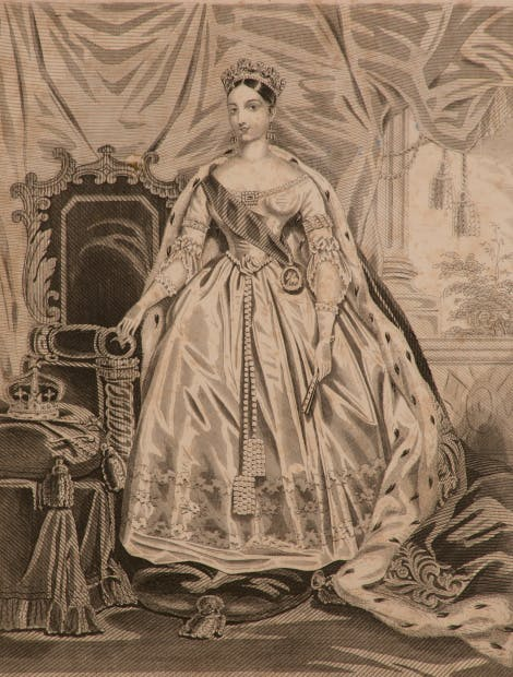 A fashion plate showing Queen Victoria in 'Royal Robes', 1838