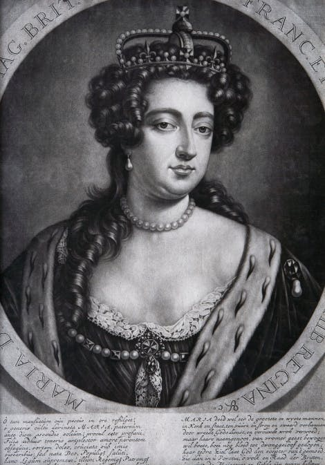 Engraving of Queen Mary II wearing crown and ceremonial robes