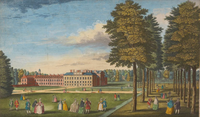 Colourful print which depicts a view of Kensington Palace from the south east with people strolling through the gardens.