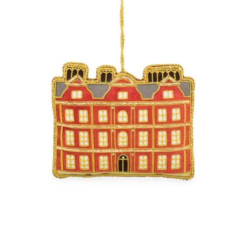 Kew Palace luxury embroidered hanging decoration, luxury Christmas ornament depicts the Dutch House of Kew Palace which dates back to 1631