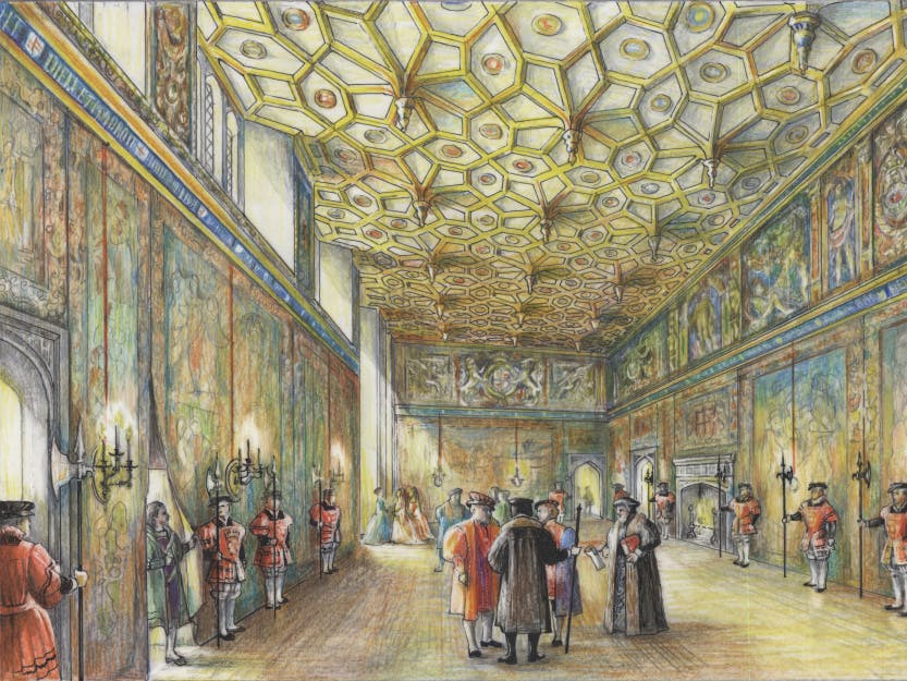 A reconstruction of the Great Watching Chamber as it would have appeared during the 16th century