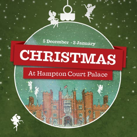 Illustration of Hampton Court Palace west front within a Christmas bauble.