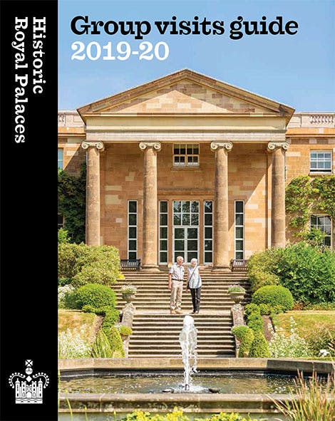 Front cover of the Historic Royal Palaces Group Visits Guide 2019-20, showing the front of Hillsborough Castle on a sunny day