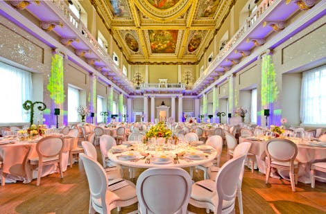 Dinner set up under the Rubens Ceiling in Banqueting Hall, London