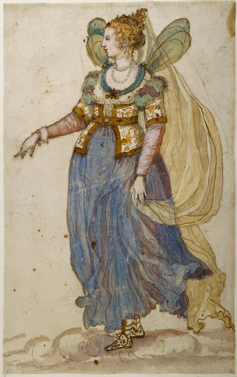 Inigo Jones costume design for a masque 'A Lady Masquer'