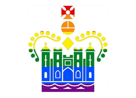 Historic Royal Palaces Palace Pride logo showing a palace and crown in rainbow Pride colours.