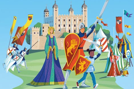 Illustration of the Tower of London with medieval knights and maidens in the foreground