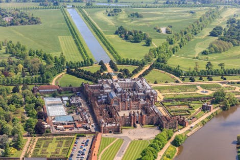 Aerial view of Hampton Court Palace from the west.