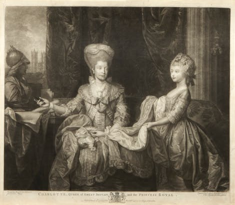 Depiction of Queen Charlotte with Charlotte, Princess Royal