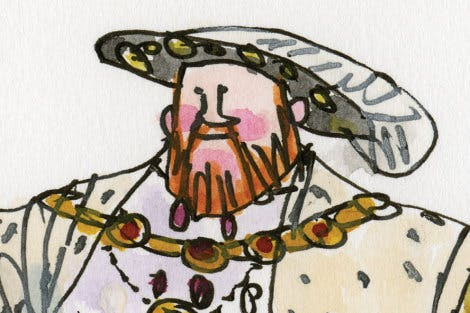 Illustration of King Henry VIII using line and watercolour.
