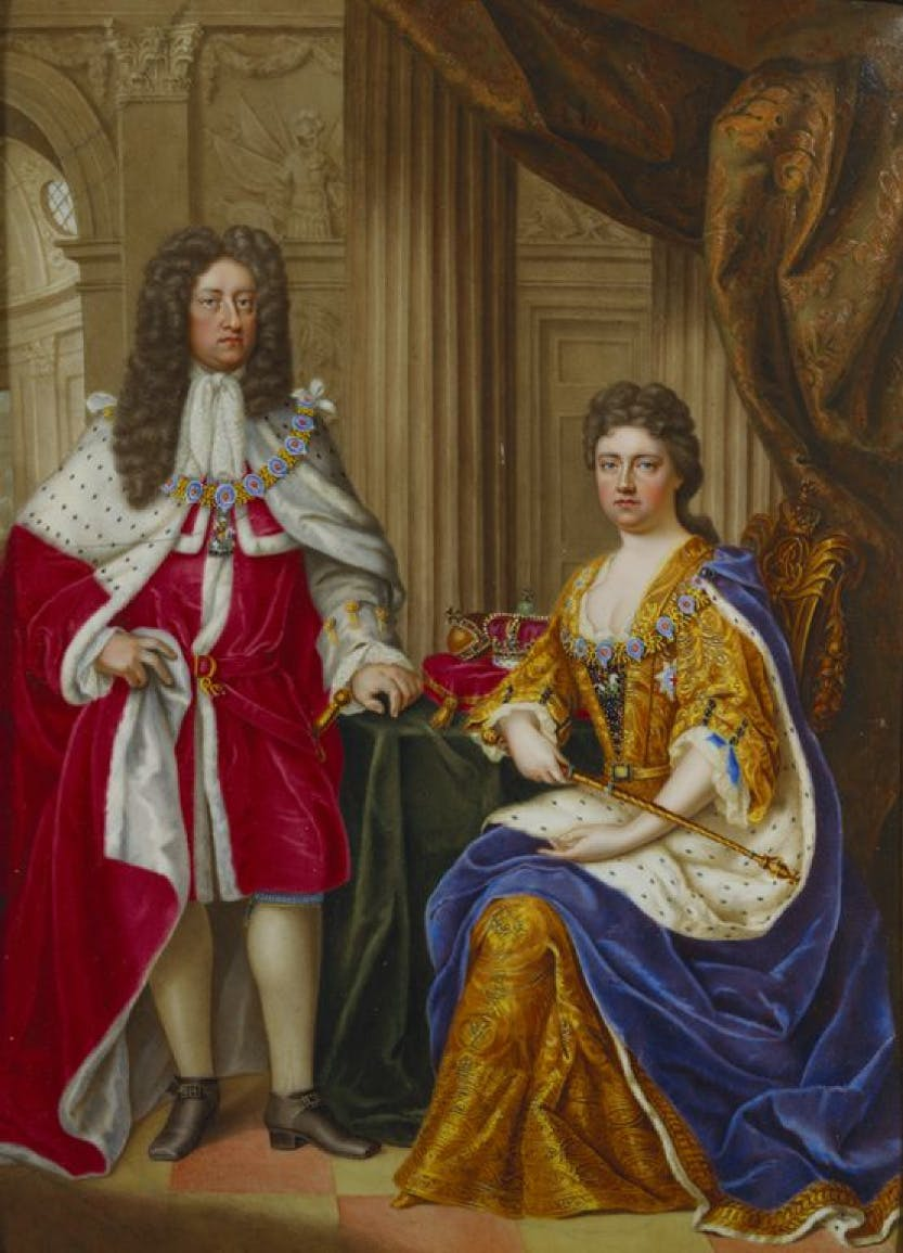 Portrait of Queen Anne and her husband Prince George of Denmark.