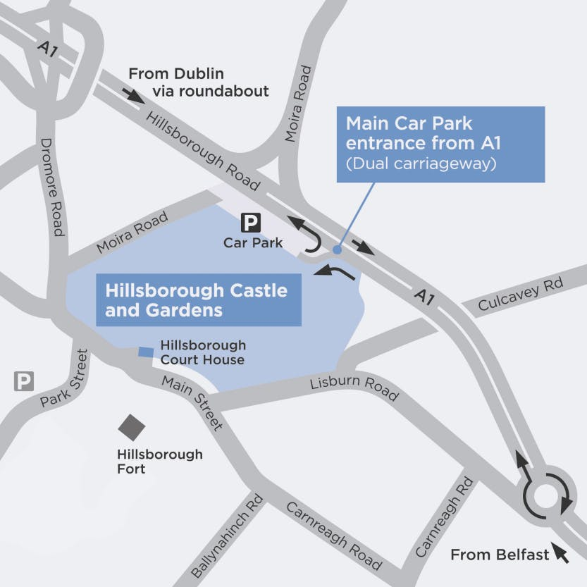 A map of the entrance to the Hillsborough Castle and Gardens car park, showing the exit from the A1 for visitors travelling from the north or south.