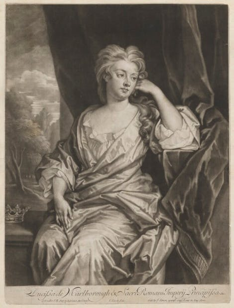 Mezzotint portraying Sarah Churchill, Duchess of Marlborough.