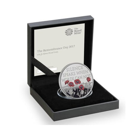 Royal Mint Remembrance Day 2017 silver proof UK £5 poppy commemorative coin