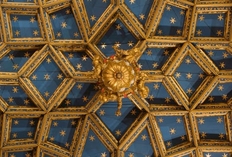 The blue and gold vaulted ceiling of the Chapel Royal at Hampton Court Palace