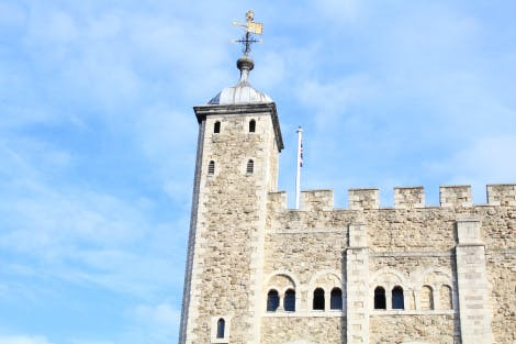 The White Tower's Norman row of windows on it's south side at the Tower of London