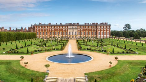 Aerial view of Privy Garden at Hampton Court Palace showing South Front and fountain