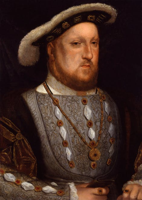 King Henry VIII, after Hans Holbein the Younger, oil on copper, probably 17th century, based on a work of 1536. Purchased, 1863, National Portrait Gallery, NPG 157.