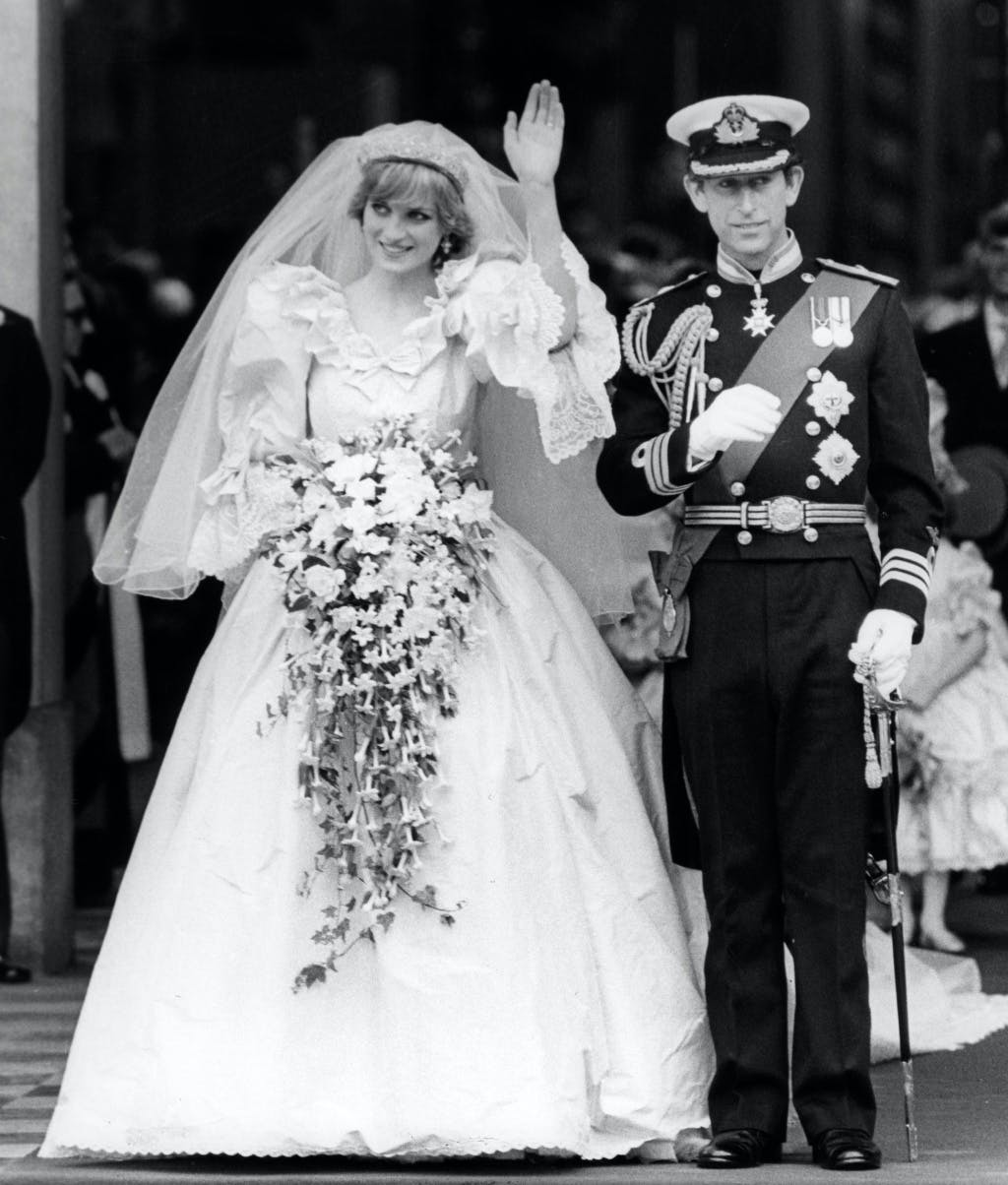Prince Charles and Princess Diana leaving St Paul's Cathedral, following their wedding ceremony 29 July 1981