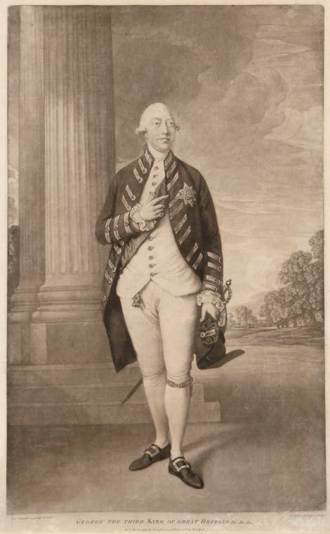 An engraving of King George III standing in Windsor uniform with the sash and star of the Order of the Garter, a sword at side and holding a tricorne hat in his hand