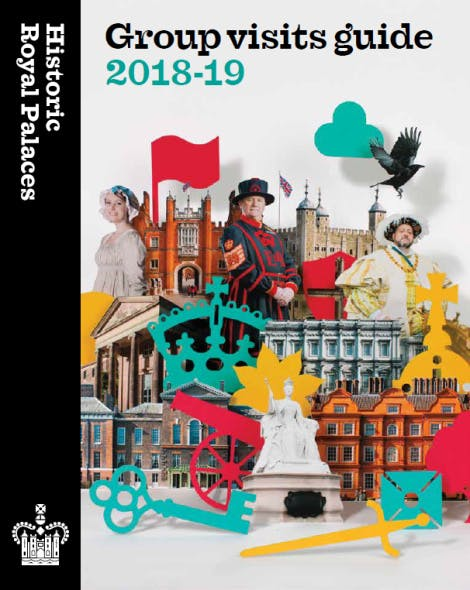 The cover of the Group visits guide 2018-19, containing colourful images and symbols of the palaces along with some of the palaces' most famous residents