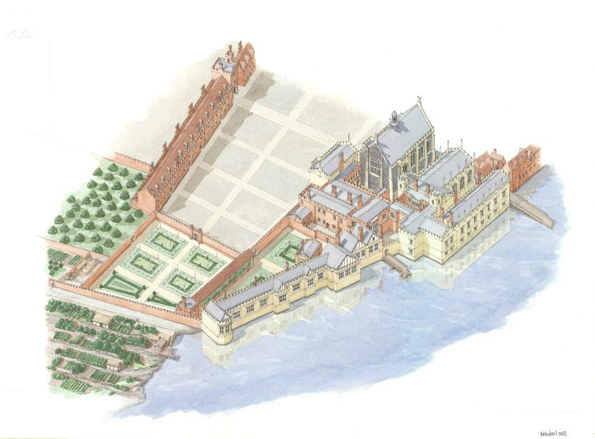 Reconstruction of York Place, Whitehall in 1530. York Place was the London residence of the Archbishops of York. It was confiscated from Cardinal Thomas Wolsey by King Henry VIII in 1530 and renamed Whitehall. This drawing shows York Place at its largest extent, on the eve of Wolsey's fall