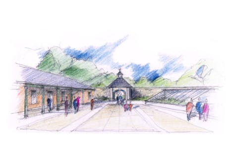 Sketch of people in a courtyard at Hillsborough Castle.