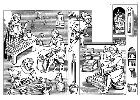 Line drawing showing men working in the medieval Tower Mint.  Men are examining coins, weighing them, striking them, and putting them in the fire to harden. They are surrounded by mint equipment such as shears, scales, pans and jars.