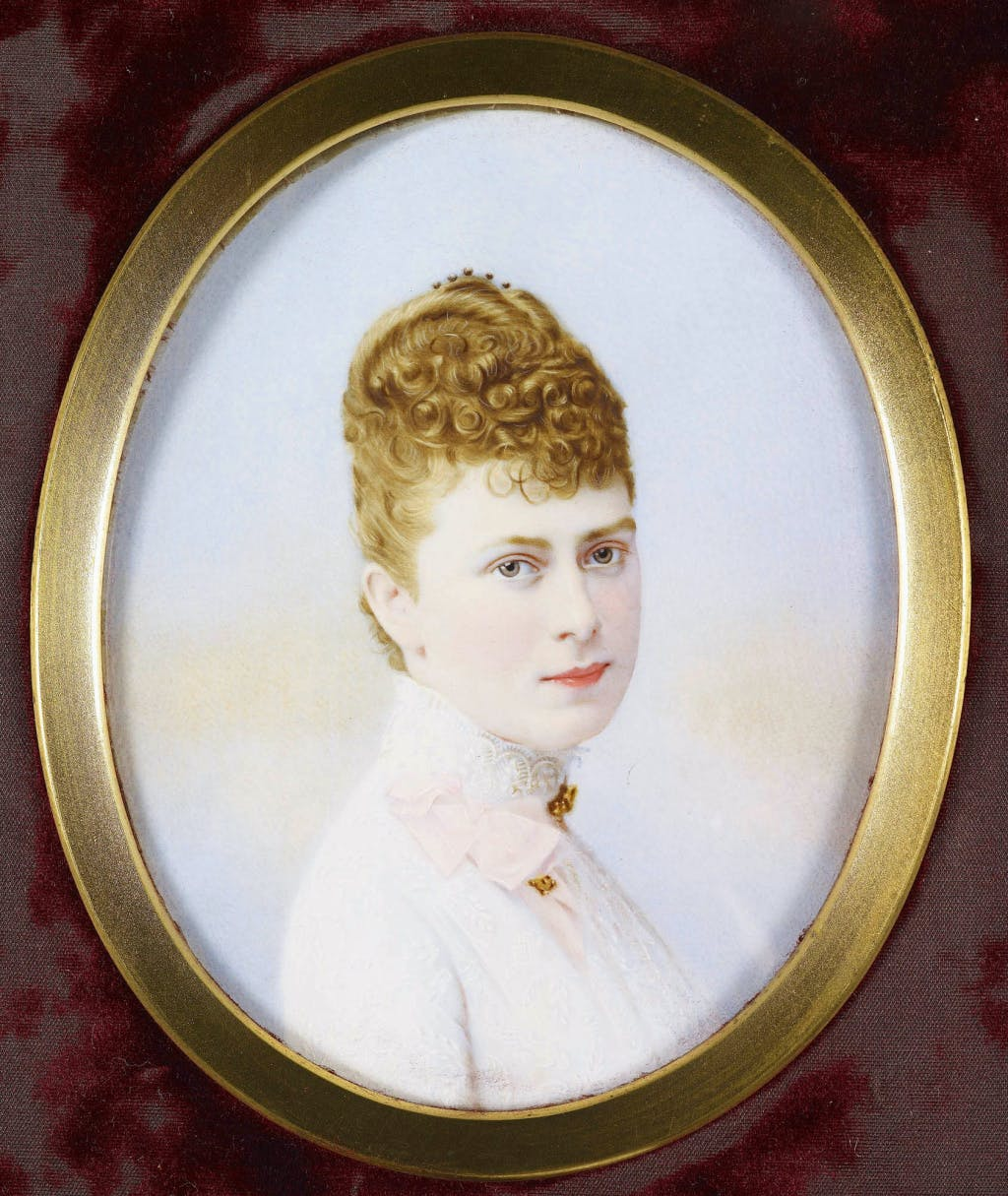 Watercolour of Queen Mary when Princess Mary of Teck, 1887