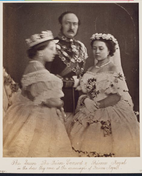 Queen Victoria, The Prince Consort and Victoria, Princess Royal, black and white photo.