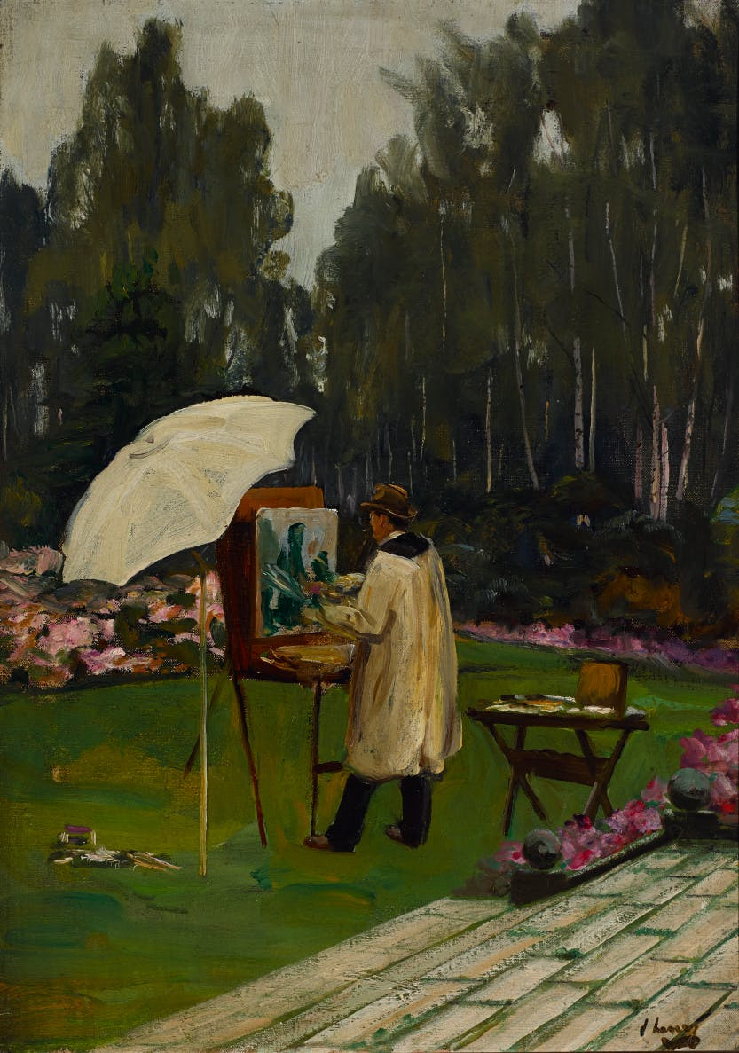 Painting of Winston Churchill standign before an easel in Lady Paget's garden in Kingston Hill, Surrey.