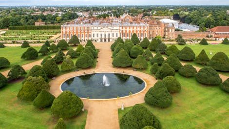 Aerial view of Great Fountain Garden at Hampton Court Palace showing Baroque East Front of palace and Great Fountain