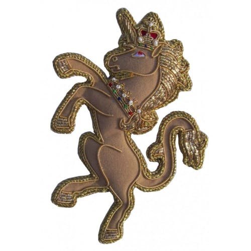 Royal Beasts Unicorn tree decoration is beautifully handmade using metal and silk threads on a satin background