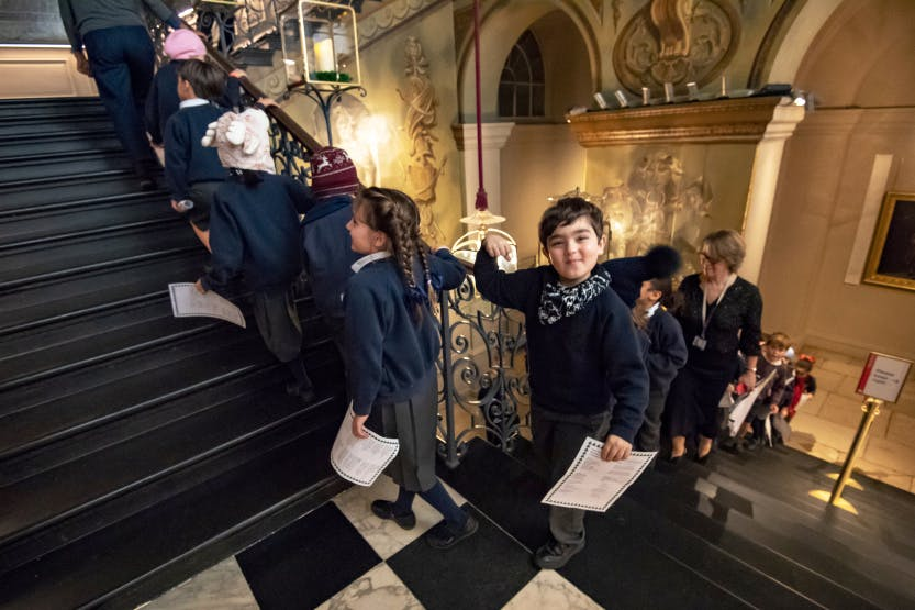 Primary school students take part in school session at Kensington Palace