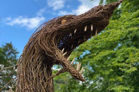 Dragon head wicker sculpture