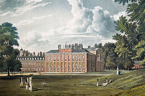 A view of Kensington Palace from the south east showing the external side of the King's Gallery.