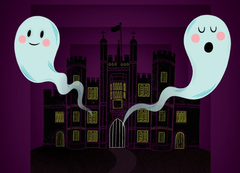 Two illustrated ghost figures at night in front of the West Front of Hampton Court