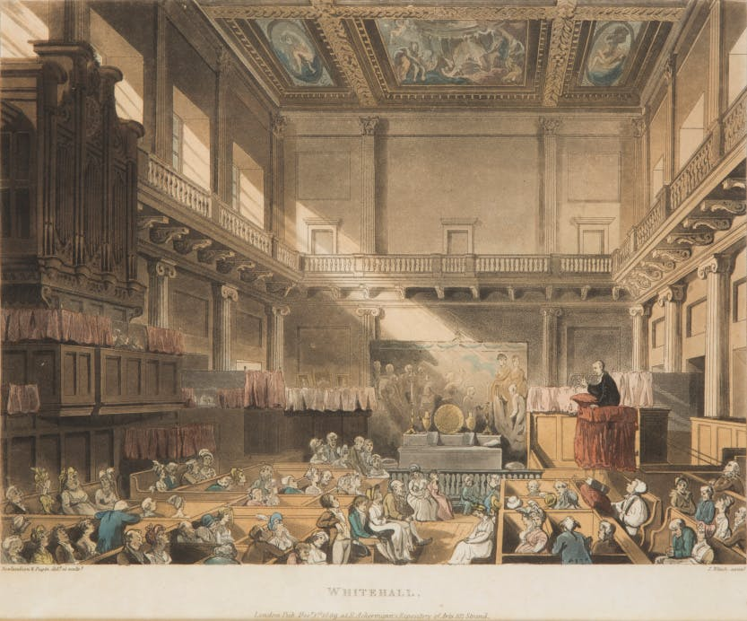Aquatint by John Bluck (fl.1791-1819) depicting the Banqueting House, Whitehall in use as a chapel. The location 'Whitehall' is inscribed at the bottom of the print.   After fire destroyed Whitehall Palace in 1698, the Banqueting House was fitted up as a Chapel Royal. In the early 19th century it became a military chapel and from the 1830s until 1890 was again used as a Chapel Royal.